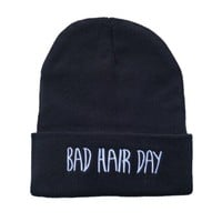 Soyagift black fashion Bad Hair Day Beanie hat hiphop Beanie Hat Knit Beanie unsex hip hop warm ski knit winter women men's cool hat Winter cap HT25-1
