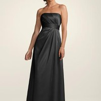 Textured Satin Dress with Pleated Bodice - David's Bridal