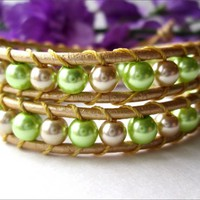 Lime Green, Gold Glass Pearl Gold Leather Chan Luu Style Wrap Bracelet