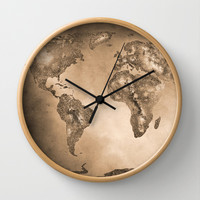 Stars world map. Sepia Wall Clock by Guido Montañés