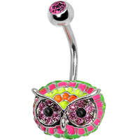 Pink Gem with Multi Neon Feathers Owl Face Belly Ring | Body Candy Body Jewelry