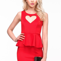 HEART THIEF PEPLUM DRESS