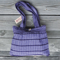 Handwoven Shoulder Bag - Woman Girls Ethnic Andean Purple Lavender Bag - Alpaca Wool Bag - AWAK