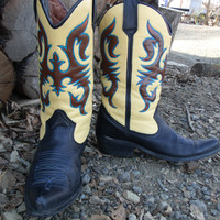 Womens Hand Painted Leather Cowboy Boots Size 91/2