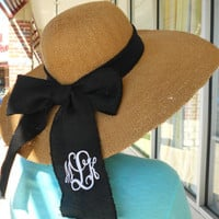 Large Derby Hat Monogram Personalized with Bow Font Shown INTERLOCKING