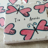 Butterfly Wedding Favor Coasters , Set of 25
