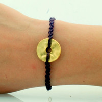 Women's Bracelet . Woven with waxed rope with leather look gold plated ring bracelet.