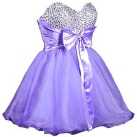 Faironly Stock Mini Short Quinceanera Homecoming Dress (XL, Lavender)