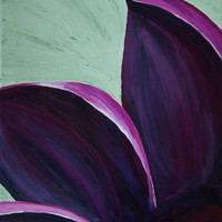 Purple and pink flower on green acrylic painting on by MSaxxy