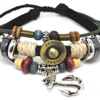 Soft Leather Bracelet Metal Anchor Women's Leather by braceletcool