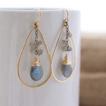 Gold Hoop Earrings, Labradorite Earrings, Oxidized Silver, Modern Earrings, Minimalist Jewelry