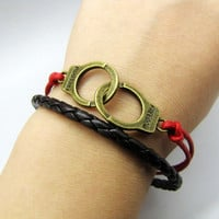 Handcuffs Pendant Leather and Ropes Women Jewelry by braceletcool