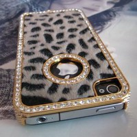Luxury Designer Bling Crystal Leopard Cheetah Fur Hard Case Iphone 4