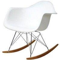Amazon.com: Molded Plastic Rocking Chair in White: Home &amp; Kitchen