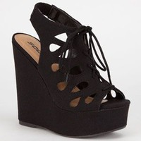 Soda Chop Out Womens Wedges Black  In Sizes