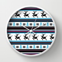 Retro Christmas Stripe Wall Clock by markmurphycreative