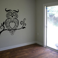 Owl Wall Decal Owl Bird Night Decal Sticker Bedroom Sticker Wall Art Gift Decoration 24 x 24