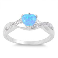 Classic Heart Shaped Blue Lab Opal Twist CZ Ring in Sterling Silver