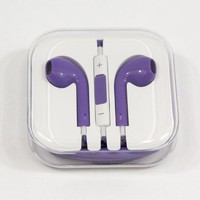 Sector7industries Purple Earphone Stereo Head Earset Ear Phone Piece Set 3.5mm Wired Headset Headphone Pod Mic Remote Volume Reduction Wire