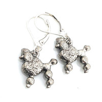 Poodle Earrings, Cute Animal, Gift for Dog Lover, Silver Dog, Standard Poodle, French Poodle, Poodle Jewelry
