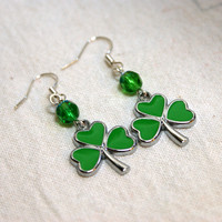 Three Leaf Clover Enamel Earrings with Bright Accent Beads Perfect For St. Patrick's Day