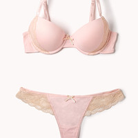 FOREVER 21 Everyday Lace Trimmed Bra Set Light Pink/Nude