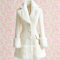 Elegant Turn-Down Collar Fake Fur Embellished Long Sleeve White Coat For Women