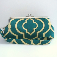 Wristlet clutch purse -Twill Seaside