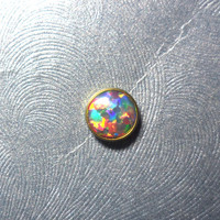 5mm Rainbow Opal in Yellow Titanium Microdermal Top