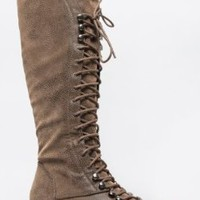 Breckelle's GEORGIA-35 Knee High Lace Up Military Combat Boot