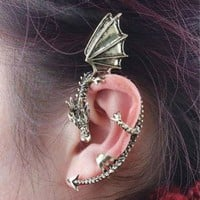 Vintage Punk Gothic Rock Dragon Pattern Ear Cuff Clip Stud Earring