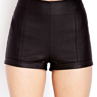 Cool Girl Coated High-Waisted Shorts