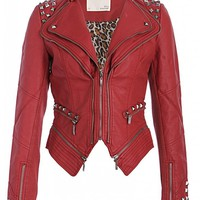 Rocking Cool Red Studded Punk Style PU Leather Slim Fit Moto Jacket