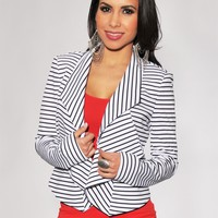 Black White Stripes Ruffled Front Jacket