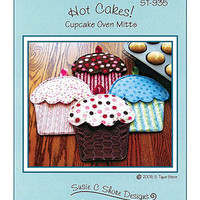 Cupcake Oven Mitts Pattern, Hot Cakes, Susie C Shore Designs