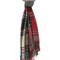 Red and Cream Check Scarf
