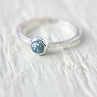 Blue Rough Diamond Ring Sterling Silver Blue Raw Diamond Engagement Ring Size 7 Silversmithed Metalsmithed