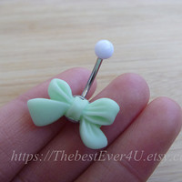 Lovely Bow Button Ring, Belly Button Ring, Belly Ring, Body Jewelry, Belly Button Jewelry.