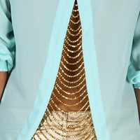 Mint Chain Back Blouse