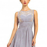 Little Mistress Heavily Embellished Pleated Waist Sleeveless Prom Dress