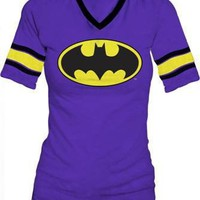 DC Comics Batman Hockey Juniors V-Neck Purple T-shirt Tee