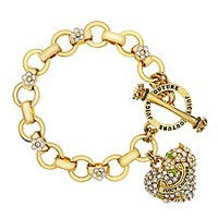 Pave Heart and Flower Charm Bracelet