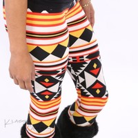 Aztec Colorful Tribal Red Printed High Waist Pants Tight Legging Pattern +VIDEO