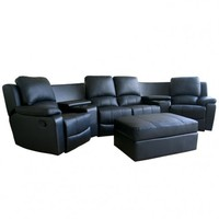 Arviragus Leather Curved 7-pcs Home Theater Sectional in Black