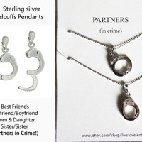 Matching Sterling Silver Handcuffs Necklaces, Partners in Crime, Best friends, BFF Sisters Jewelry, Fifty Shades of Grey Handcuff Pendants