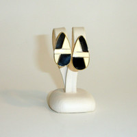 Vintage Trifari Earrings: Gold Tone Enameled Earrings in Black and Cream, Teardrop Shape with Art Deco Design, Post Back