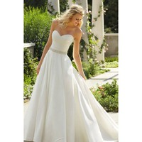 Alluring Strapless Damask Full Length A-line Wedding Dress
