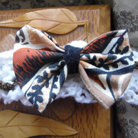 Tribal Bow Headband/ Cotton Bow Headband White by FuriousDesigns