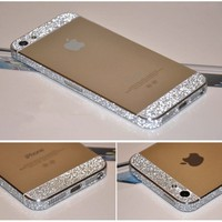 Bumper Side Luxury Glitter Bling Sticker Skin for Iphone 5s Silver Color