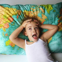 WORLD MAP giant organic cotton cushion the by mybeardedpigeon